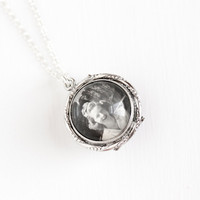 Vintage Silver Tone Magnifying Photo Locket Pendant Necklace - 1930s Domed Glass Pools of Light Style Charm Jewelry on Sterling Silver Chain
