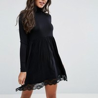 ASOS Turtleneck Skater Dress With Lace Hem at asos.com