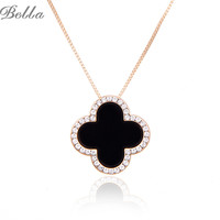 Fashion Charms Rhinestone Edging Necklace CZ Diamond 18K Gold Long Chain Clover Necklaces&Pendants Women Jewelry(X0267)