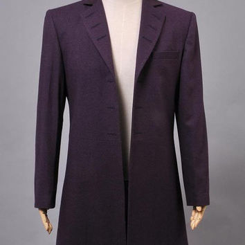 Doctor Who 11th Doc. Purple Wool Frock Coat Costume Custom-made