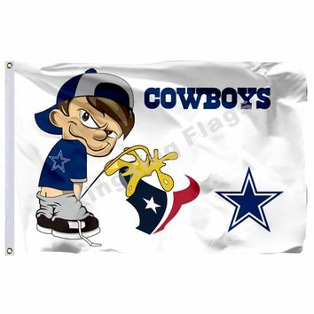 Dallas Cowboys vs Houston Texans Flag 3ft x 5ft Polyester NFL Team Banner Flying Size No.4 90*150cm Custom Any Two Teams