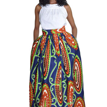 African Print High-Waist Multi-Colorf Full Maxi Skirt