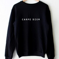 Carpe Diem Letters Print Women Sweatshirt Jumper Cotton Hoody For Lady Funny Black Drop Ship BZ-97