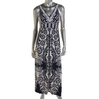 Style & Co. Womens Floral Print Sleeveless Maxi Dress