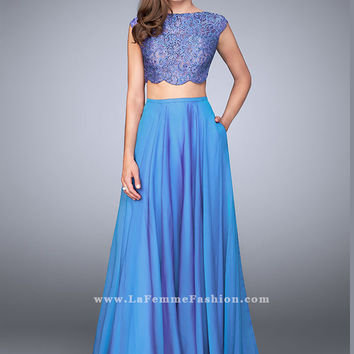 La Femme 23922 Lace Crop Top Formal Prom Dress