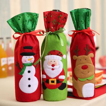 1PC Christmas Decorations for Home Santa Claus Wine Bottle Cover Bag Santa Sack Decoration  171122