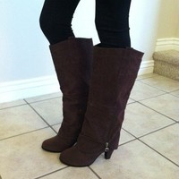 Brown Back Zipper Buckle Boots