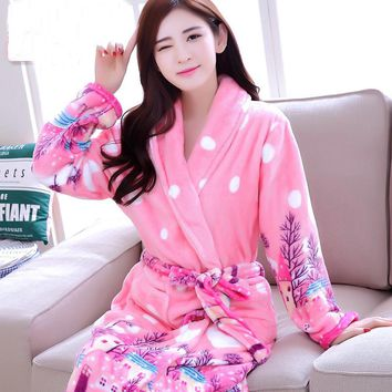 New Women Coral Fleece Robe Sex Sleepwear Winter Autumn Warm Bathrobe Nightgown Kimono Dressing Gown Robe For Lady