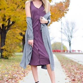 * Away For The Weekend Button Dress: Wine