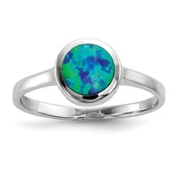 Sterling Silver Round Bezeled Blue Opal Inlay Ring
