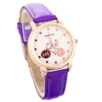 Fashion Women Bicycle Sports Leather Watch Best Christmas Gift