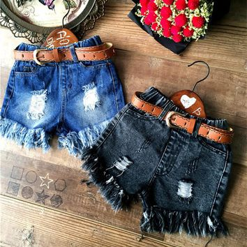 High Quality New Arrival 2016 Summer Baby Girls Shorts Fashion Kids Denim Shorts Toddler Ruffle Hole Jean Shorts For 2-8Y