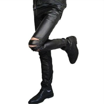 Men's Gothic Punk Vegan Leather Pants w/ Slashed Knees