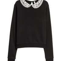 Lace-collared Sweatshirt - from H&M