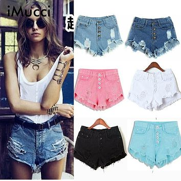 iMucci Summer Black Blue Women Jeans Shorts Hole High Waist Shorts Black Cheap Jeans Autumn Spring Lady Fashion Short Pants