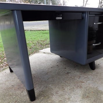 Tanker Desk Steel Age Desk Petite Style Office Furniture Mad Men Restored to Dark Gray & Black Mid Century Modern Decor Made in 1958 Formica