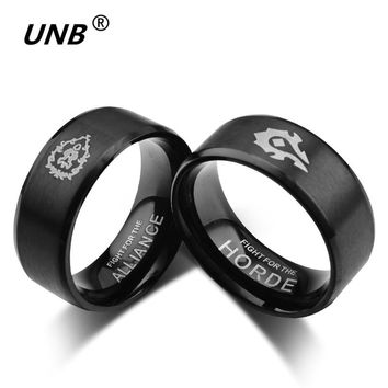 UNB Games and Movies 316 Stainless Steel Ring Gold Silver Black World of Warcraft Witcher 3 Wolf Lords The One Rings for Gifts