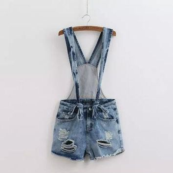ESBONG Summer Stylish Ripped Holes Simple Design Romper Casual Shorts Jeans [8997657287]