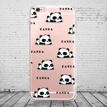 Cute Cartoon Animal Panda Transparent Silicone Ultra Thin Soft TPU Clear Phone Back Cover Case For iPhone 6/6s