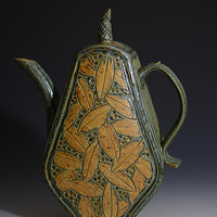 Teapot with Leaves by Jim and Shirl Parmentier (Ceramic Teapot) | Artful Home