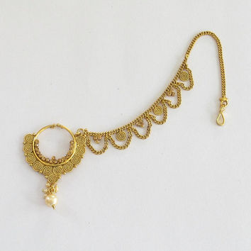 Gold Nose Ring Chain Hoop Indian Bridal from Beauteshoppe on