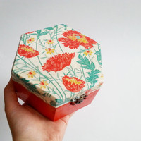 Red green trinket box decoupage carnations keepsake box gift for her valentines