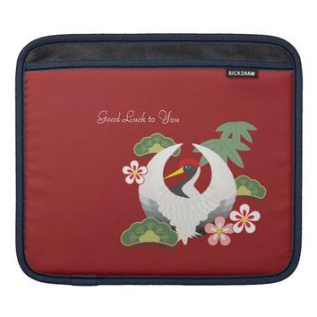 Custom Red iPad Sleeves: Name / Message Template: Good Luck to You: Cute Crane with Japanese Lucky Charms Cases for iPad