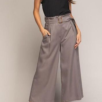 Kari Tencel Culotte Pants in Driftwood