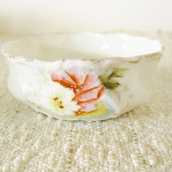 Vintage Porcelain Trinket Dish Oval Handpainted Floral Mid Century China Home Decor Powder Room Limoges or R. S. Prussia  Pink Yellow Gold