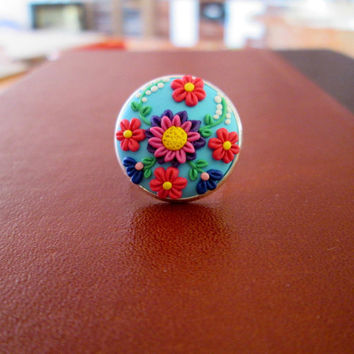 pink polymer clay ring,colorful ring,spring ring,artisan rings,floral ring,ready to ship jewelry,wife gift valentines day,gift ideas for mom