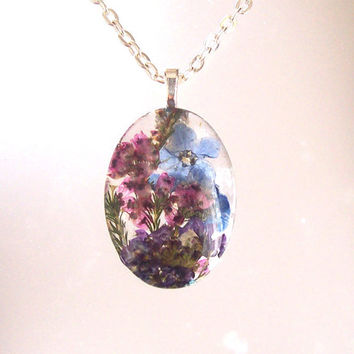 Real  Pressed Flower Forget me not, Alyssum, Heather English Garden Oval Glass Necklace