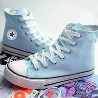 """Converse"" Fashion Canvas Flats Sneakers Sport Shoes Women Men Light Blue"