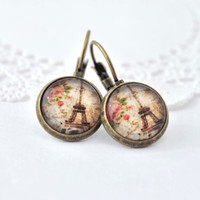 I love Paris Picture Dangle Earrings, Antique Brass, Glass Dome