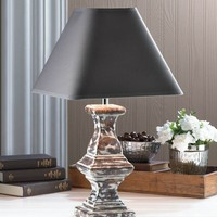 Recast Weathered Finish Ceramic Table Lamp w/ Rich Fabric Shade