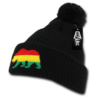 California Republic State Bear Flag Embroidered Pom Beanie - Rasta