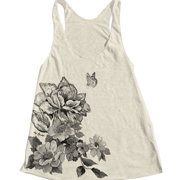 FLOWER Print Tank Top American Apparel Triblend Racerback Tank Top Hand Screen Printed