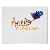 hello sunshine poster with butterfly photo art
