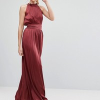 Little Mistress Tall Ruched Pleated Maxi Prom Dress at asos.com