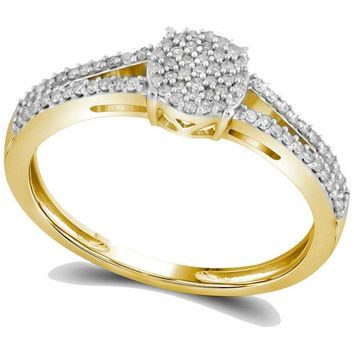 10kt Yellow Gold Women's Round Diamond Split-shank Circle Cluster Ring 1-5 Cttw - FREE Shipping (US/CAN)