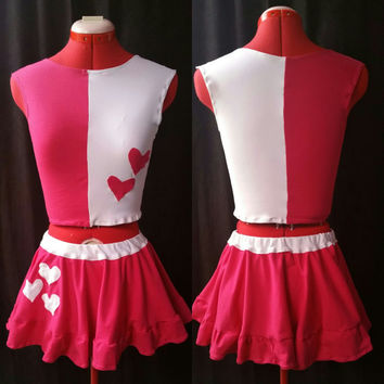 SAMPLE SALE: Harley Quinn Inspired Pink and White Hearts Crop Top and Skirt Set Small