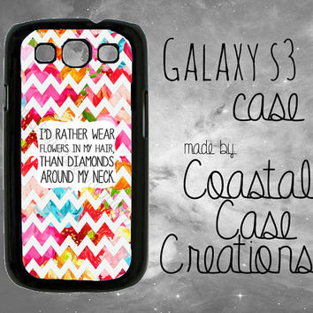 Colorful Floral Chevron Flowers and Diamonds Quote Samsung Galaxy S3 Hard Plastic or Rubber Cell Phone Case Cover Original Design