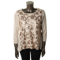 Joseph A Womens Knit Sequined Pullover Sweater