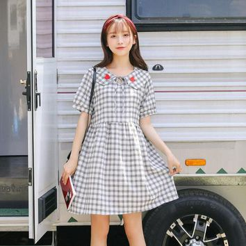 Good quality cotton Plaid dress summer Harajuku kawaii heart embroidery vadim doll collar vintage plus size party dresses