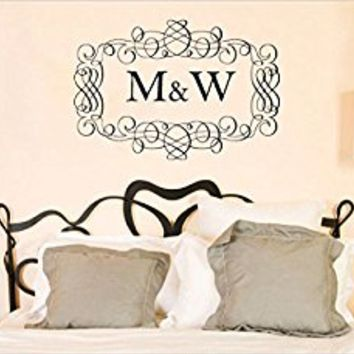 Wall Decal Vinyl Sticker Decals Art Decor Design Monogram Personalized Custom Name Family Wedding Gift Headboard Pattern Dorm Bedroom(r762)