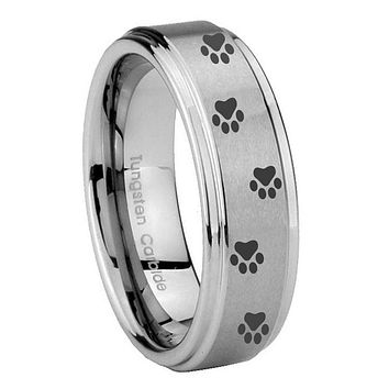 10MM Step Edges Paw Print Design Tungsten Carbide Silver Men's Ring