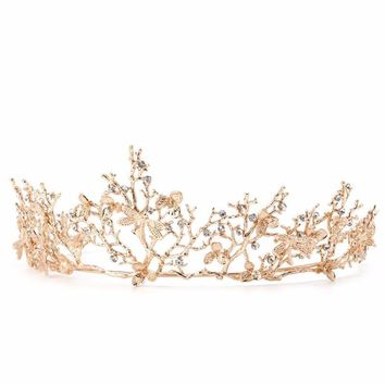 """Grace"" Gold Floral Birthday Tiara"