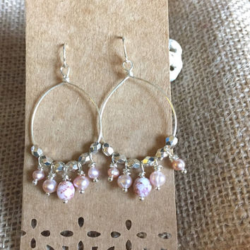 Wire Hoop Earrings - Beaded Hoop Earrings - Chandelier Earrings - Silver Pink Stone Earrings - Freshwater Pearl Earrings - Pearl Hoops