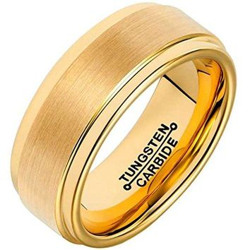 8mm Tungsten Carbide Ring 18k Gold Simple Fashion Wedding Engagement Band Matte Finish