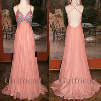 Elegant pink chiffon v-neck handmade floor-length beaded prom dress, graduation dress, party dress with sequins