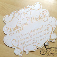 Unplugged wedding laser cut and engraved sign